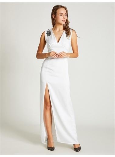 Vekem-Limited Edition Taş Detaylı Abiye Elbise Ekru